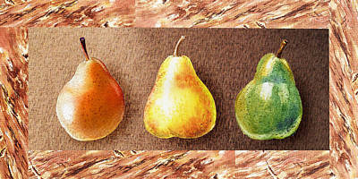 Pear Watercolor Painting - Farmers Market Drive Through Red Yellow And Green Pear by Irina Sztukowski