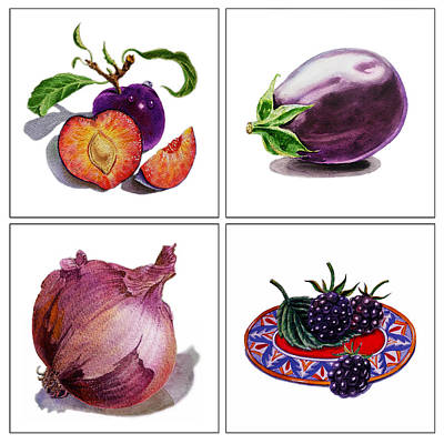 Painting - Farmers Market Gifts  Purple Vitamins by Irina Sztukowski
