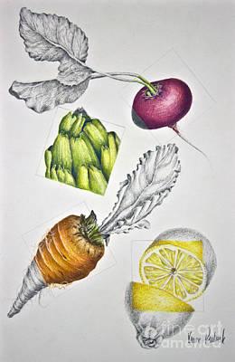 Carrot Drawing - Farmer's Market by Karen Risbeck