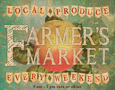 Grape Leaves Mixed Media - Farmer's Market by Marilu Windvand