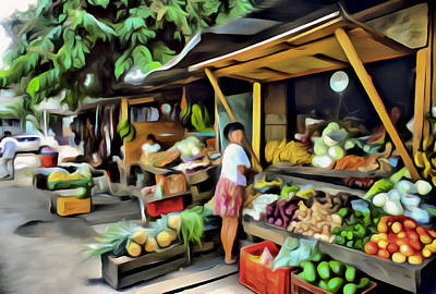 Digital Art - Farmers Market by Patrick M Lynch