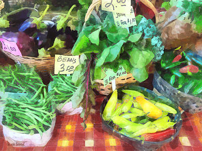 Eggplants Photograph - Farmer's Market - Peppers And String Beans by Susan Savad