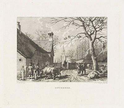 Farmers Negotiate Near Oxen In A Village Art Print by Izaak Jansz. De Wit And Jacob Cats