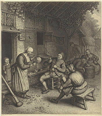 Pour Drawing - Farmers On The Terrace Before An Inn, Germany by Jonas Suyderhoef And Leonard Schenk