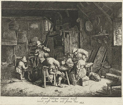 Farmers To A Meal At An Inn, Adriaen Van Ostade Art Print