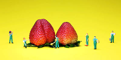 Farmers Working Around Strawberries Art Print