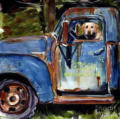 Yellow Labrador Retriever Painting - Farmhand by Molly Poole