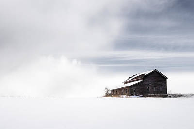 Barn In Snow Photograph - Farmhouse - A Snowy Winter Landscape by Gary Heller