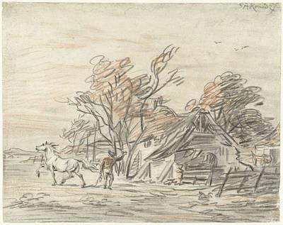 Farmhouse And A Farmer Training His Horse Art Print by Quint Lox