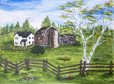 Farmhouse And Barns Art Print by Carole F Perrine