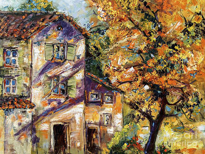 Painting - Farmhouse Autumn Tree And Afternoon Sun by Ginette Callaway