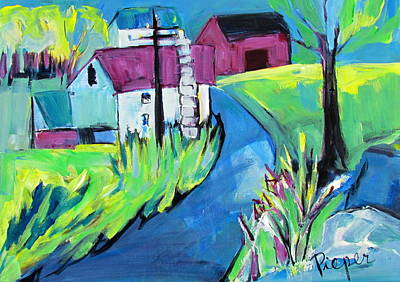 Painting - Farmhouse Down My Road In Spring by Betty Pieper