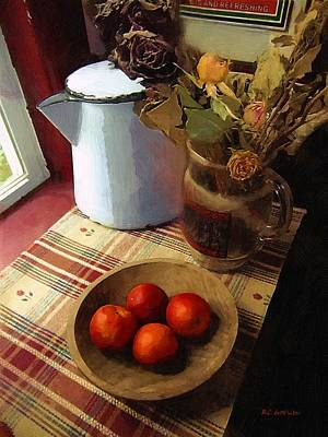 Fruit Bowl Window Painting - Farmhouse Fruit And Flowers by RC deWinter