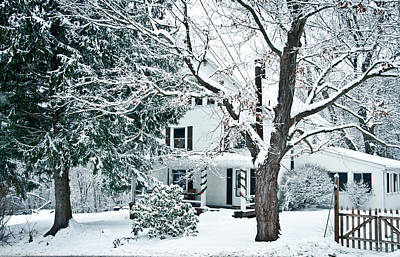 Farmhouse In Snow Art Print by Nickaleen Neff