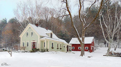 Photograph - Farmhouse In Winter Along Connecticut River Valley by Nancy Griswold