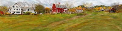 Autumn Scene Painting - Red Barn Art- Farmhouse Inn At Robinson Farm by Lourry Legarde