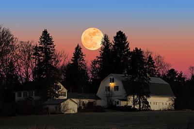 Print featuring the photograph Farmhouse Moonrise by Larry Landolfi