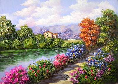 Tuscan Hills Painting - Farmhouse On The River Ts2 by Salvatore Telese
