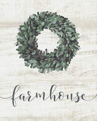 Painting - Farmhouse Wreath by Jo Moulton