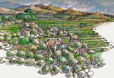California Vineyard Drawing - Farming Compound by Andrew Drozdowicz