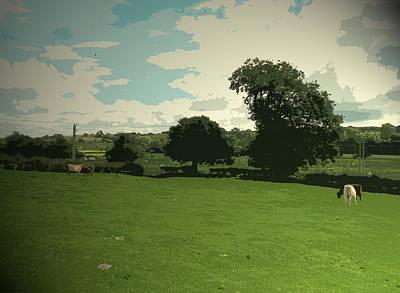 Farmland Near Ashbourne, An Grassland Scene In A Square Art Print