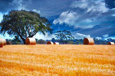 Agriculture Digital Art - Farmland Oil Painting by Phill Petrovic
