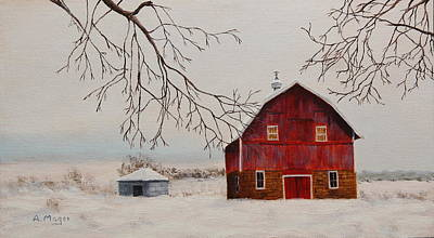 Painting - Farmland Winter by Alan Mager