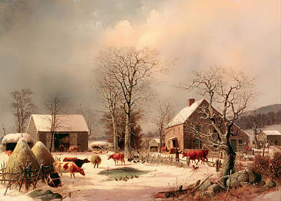 Cattle Dog Painting - Farmyard In Winter by Mountain Dreams