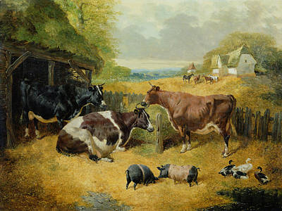 Pig Painting - Farmyard Scene by John Frederick Herring Snr