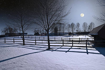 Photograph - Farmyard Winter Moonrise by Larry Landolfi