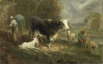 Farmyard Drawing - Farmyard With Cattle, Eugène Fromentin-dupeux by Litz Collection
