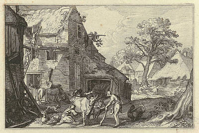 Farmyard Drawing - Farmyard With People And Livestock by Claes Jansz. Visscher (ii) And Abraham Bloemaert And Jan Saenredam