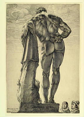 Famous Artists Drawing - Farnese Hercules by Hendrik Goltzius