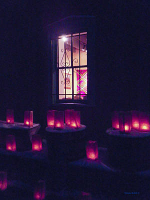 Farolitos Or Luminaria Below Window 2 Art Print by Tamara Kulish
