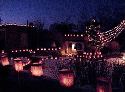 Christmas Photograph - Farolitos Or Luminaria On Wall 2 by Tamara Kulish