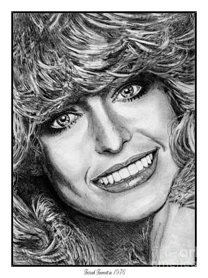 Art Print featuring the drawing Farrah Fawcett In 1976 by J McCombie