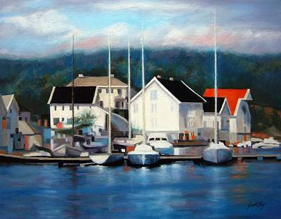 Boats In Reflecting Water Painting - Farsund Dock Scene Painting by Janet King