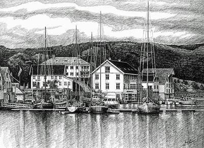 Farsund Dock Scene Pen And Ink Art Print by Janet King