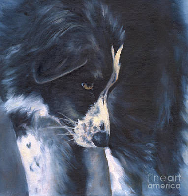 Border Collie Painting - Fascinated by Linda Shantz