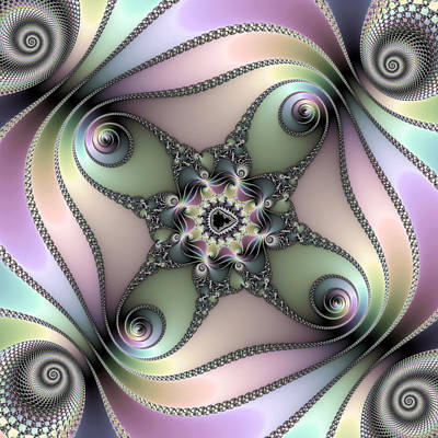 Digital Art - Fascinating Fractal Spirals Beautiful Metallic Colors by Matthias Hauser