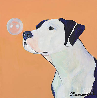 Dog Poster Painting - Fascination by Pat Saunders-White