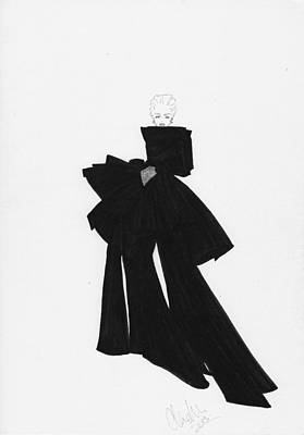 Impact Drawing - Fashion Art Black Bow Dress Illustration by Alex Newton