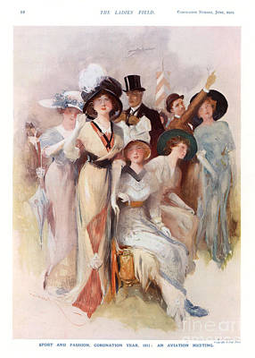 Fashion At Ascot Races 1911 1910s Uk Cc Art Print by The Advertising Archives