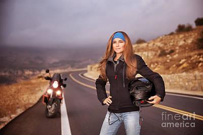 Photograph - Fashion Biker Girl by Anna Om