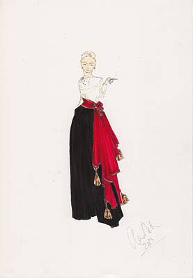Immaculate Drawing - Fashion Drawing Red Scarf Dress by Alex Newton