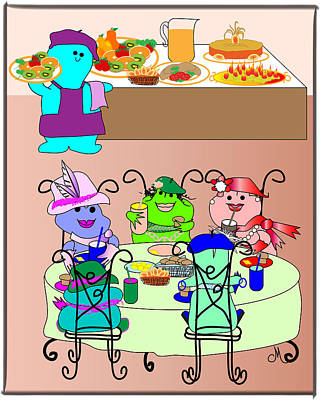 Fashion Frogs Dining Out Print by Chris Morningforest