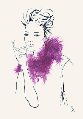 Boa Constrictor Mixed Media - Fashion Illustration -  Lady With Pink/purple Fur Collar.  by Kate Zucconi