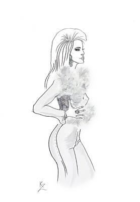Painting - Fashion Illustration - Glamorous Woman In White Fur Trim Gilet. by Kate Zucconi