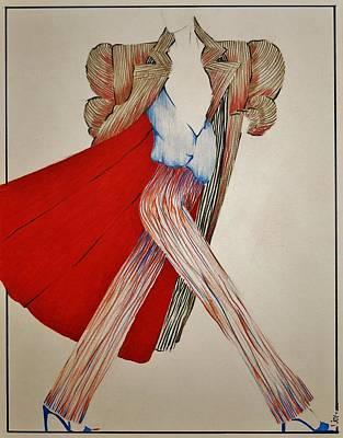Runway Fashion Art Drawing - Fashion Illustration by Joy Bradley