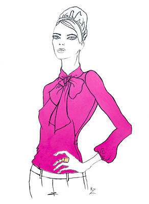 Painting - Fashion Illustration - Model In Fuchsia Pink Pussycat Bow Blouse. by Kate Zucconi